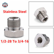 Oil Filter Adapter Stainless Steel Threaded 1/2-28 to 3/4-16 Screw New