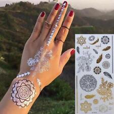 3 SHEETS  MIXED SET Stunning Boho Henna Inspired Gold/Silver Temporary Tattoos