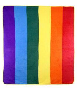 Rainbow Pride 50x60in Throw Blanket Super Soft Plush Fleece LGBTQIA Gay Pride