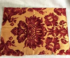 More details for antique fabric french cut velvet rare damask red gold textiles