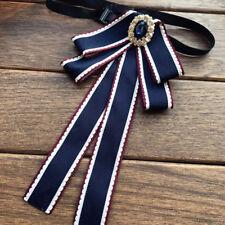 Blue Crystal Bow Tie Women Accessories Collar Fashion Brooch Pin Necktie