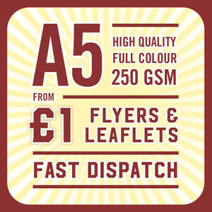 500 Full Colour Printed Flyers / Leaflets - 250gsm Gloss A5