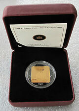 2011 CANADA STERLING SILVER $3 DOLLARS SQUARE GILDED COIN BLACK FERRET #245
