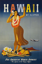 hawaii usa airline vintage travel A1 SIZE PRINT CANVAS