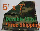 5' x 7' Heavy Duty 18 oz Vinyl Camo Camouflage Tarp Ground Cover Blind Hunting
