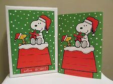 Snoopy Peanuts Christmas Cards Box 12 Hallmark Woodstock Glitter Ribbon Cute!
