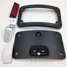Laydown Curved License Plate Bracket For Harley Softail FLSTSC/Deluxe FLSTN Blac