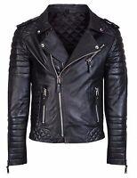 Men's Diamond Quilted Kay Michael Soft Sheep Leather Black Slim Fit Biker Jacket