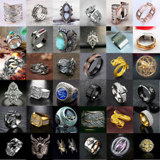 Women Men Vintage Stainless Steel Dragon Ring Gothic Punk Finger Band Rings Lot