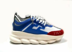 VERSACE Chain Reaction Panelled White/Blue/Red Mesh Sneakers