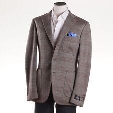 NWT $2395 BELVEST Herringbone Check Wool-Silk-Linen Jersey Sport Coat Slim 38 R