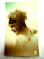 Cute Young Flapper Girl Hand Colored Real Photo Postcard Roto circa 1910s