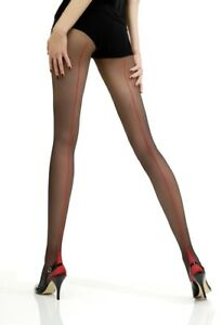Jonathan Aston Vintage Legs Contrast Seam and Heel Tights Nude / Scarlet Size A