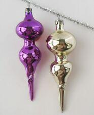Set 2 Icicle Vintage Xmas Decor Christmas Russian Glass Purple Ornament Ussr