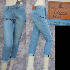 GUCCI sz 38 - 2 New Boyfriend Blue Denim Womens Designer Web Pants Jeans Auth