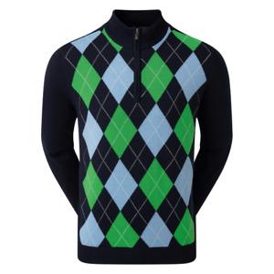 Footjoy Mens Wool Blend 1/2 Zip Lined Pullover Navy/Blue/Green Argyle