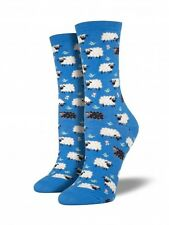 Socksmith Womens Black Sheep blue crew socks 1 pair size 9-11 NWT novelty casual