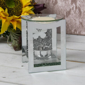 Crystal Butterfly Mirror Glass Oil Burner Fragrance Wax Melts Aroma Candle Gift