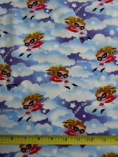 Children Flannel Fabric Super Girl 100% Cotton Brushed Both Sides 3 yds FLAW
