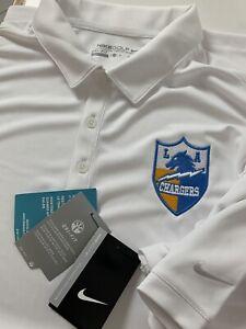Los Angeles LA Chargers Nike Dri Fit Golf Polo Shirt Men's XL New w/ Tags White
