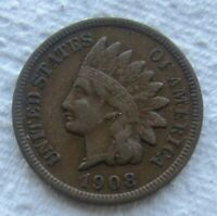 1908-S Indian Head Cent Rare Key Date Full Bold Liberty Chocolate Brown XF