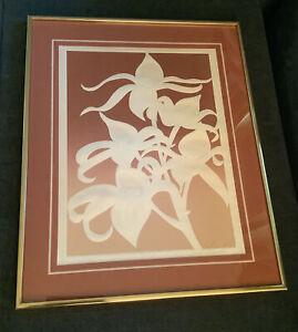 VTG Embossed Serigraph David Allgood Orchids Framed Signed Authenticity Cert