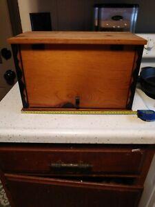 "Vintage Wooden Bread Box Rustic Country Kitchen w shelf 16x10x9"""