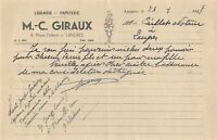 Ancienne lettre - librairie -papeterie M-C GIRAUX  à Langres 1948