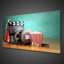 CINEMA POPCORN FILM MOVIE CLAPPER CANVAS PRINT WALL ART PICTURE PHOTO