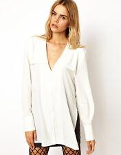 BACK BY ANN-SOFIE BACK Ivory/white Yoke Collar Blouse Top 12 $300