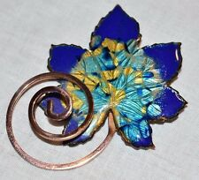 "VTG MATISSE Renoir Signed ""Leaf"" Design Rare Blue Enamel Copper Brooch Pin"