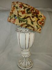 Vintage Pillbox Hat Os Mid-Century Tan Brown Green Blue Floral Print Tapestry