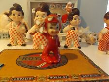 VERY RARE VINTAGE CERAMIC PIXIE / ELF IN RED AVIATORS OUTFIT W/ CAP AND GOGGLES