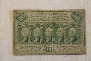 FR. 1313 50 FIFTY CENTS FIRST ISSUE FRACTIONAL CURRENCY No Monogram