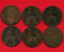 6 Great Britain 1 Penny Coins 1862 1896 1897 1898 1899 & 1906