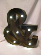 Rusty Industrial ampersand symbol & Metal light up stand/mount initial 13x13 and