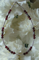 Red Garnet Bali Sterling Silver Bracelet Ankle Bracelet (2881) Also Plus Sizes