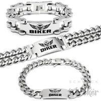 100% BIKER Armband massiv Edelstahl silber Motorradkette Panzerarmband Harley XL