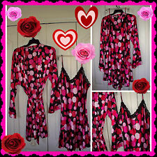 L RED PINK BLACK VALENTINES DAY  Robe Chemise Night Gown Lingerie Set  DELICATES