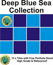 """4"""" Tile stickers decal Deep Blue sea  collection 12 + Free Printed transfer"""