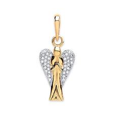 9ct GOLD Circonita Cúbica Colgante figura de ángel 1.4g G