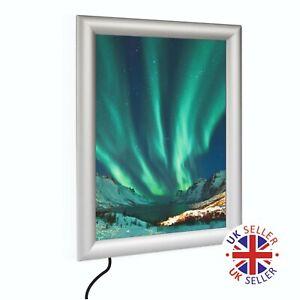 LED Illuminated A4 Snap Clip Frame Backlit Poster Display Case