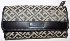 TOMMY HILFIGER WOMEN'S WALLET CHECKBOOK, CREDIT CARD, ID CARD, COINS BLKGRE, NEW