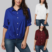 Turn Down Collar 2018 Women Fashion Solid Button Half Sleeve Tops Blouse T Shirt