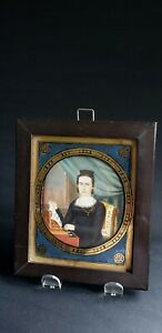 RARE- EXCEPTIONAL - 1840s -NEW YORK - HP MINATURE PORTRAIT PAINTING OF A WOMAN
