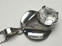 835 Silber Blumen Anhänger mit Bergkristall & 925 Silberkette von Milor /A556