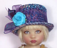 'BLUE HAZE TOP NOTE' One of a kind Hat only hand made for Barbie or Riley Kish