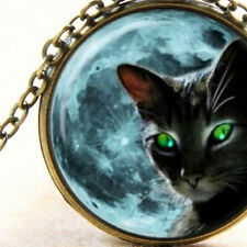 Black Cat Green Eyes Mystical Necklace Bronze Pendant, Blue Moon, Witch Wiccan