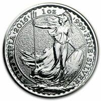 Great Britain 2016 Britannia Coin .9999 Fine Silver 1 oz Troy UK bullion 2 Pound