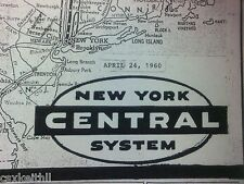 NEW YORK CENTRAL RR  - 1960 - 16 X 20 SYSTEM MAP - COMPLETE DETAILED